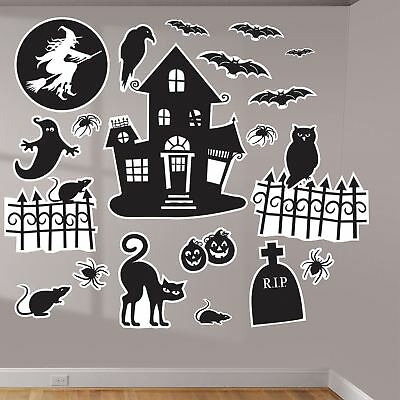 Halloween Family Friendly Wall Art Vinyl Decal Decorative Stickers Silhouette