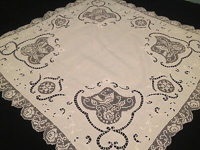 Vintage Hand Embroidered French Tablecloth ~ Exquisite Filet Lace Birds Cut Work