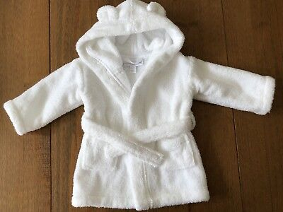 Little White Company Robe/ Dressing Gown With Bear Ears, 0-6 Months, White
