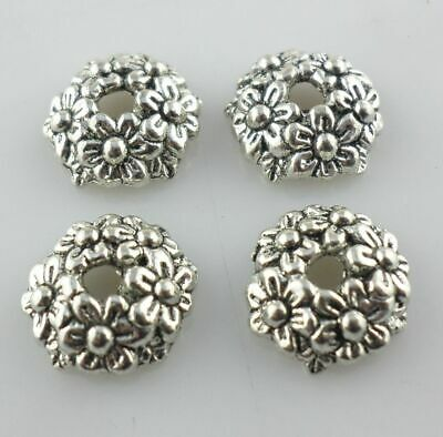 Tibetan Silver 11mm Charm Flower Spacer Bead Caps Crafts Jewelry Making Findings