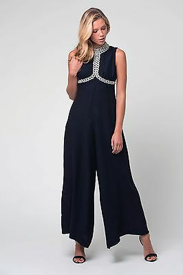 True Vintage 70s Wide legged black jumpsuit with sequin detail  - Size 8 to 10