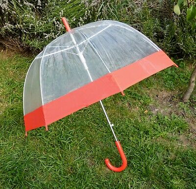 Umbrella, Red & Transparent Brolly, Clear Vinyl, Dome Shaped