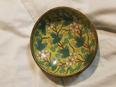 yellow green CHINESE CLOISONNE' COIN PIN DISH SIGNED CHINA VINTAGE COPPER ENAMEL