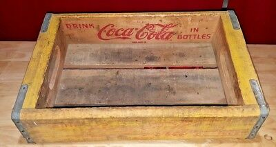 Vintage 1967 Wooden Coca Cola Carrier Crate - Yellow