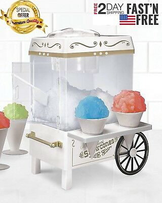 SNOW CONE MAKER Electric Ice Machine Snow Shaver Crusher Shaved Vintage 20 cones