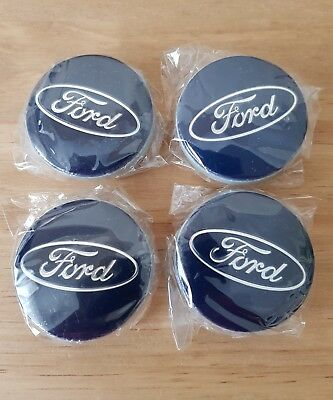 FORD 54mm BLUE Alloy Wheel Centre Caps Fits Most Models Focus Fiesta Mondeo