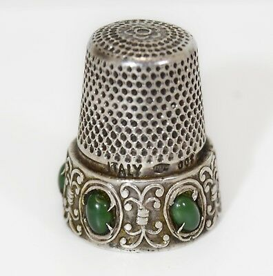 Vintage Italian 800 Silver Thimble Signed 307 Fi  W/ Green Stone Accent 20664-4