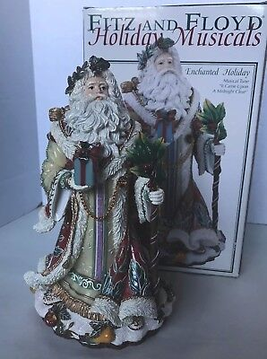 "Fitz & Floyd Enchanted Holiday Musical Santa Figurine ""Came Upon Midnight Clear"""