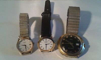 Job Lot of Three Vintage Ladies & Gents Wristwatches. 1 for parts/repair.