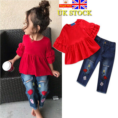 2Pcs Baby Girls Kids Ruffle Tops Embroidered Denim Jeans Pants Outfits Clothes