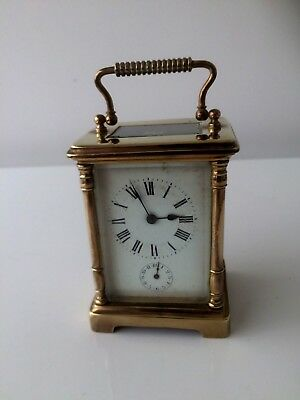 Fine Antique Quality 8 Day French Brass Carriage Clock With Bell Alarm G.w.o
