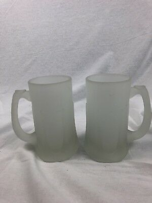 Swt Of 2 Vintage Frosted Glass Beer Stein, Mug With Drip Pattern On Base