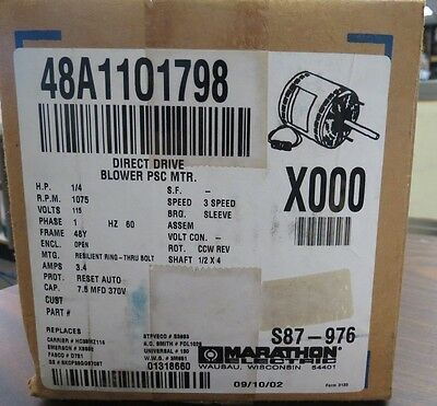 Marathon 48A1101798 1/4Hp Direct Drive Blower Motor S87-976 New