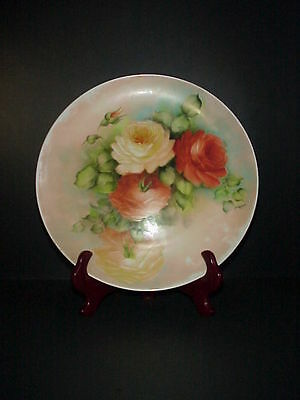 Antique Porcelain Platter Charger Hand Painted Roses Artist Signed