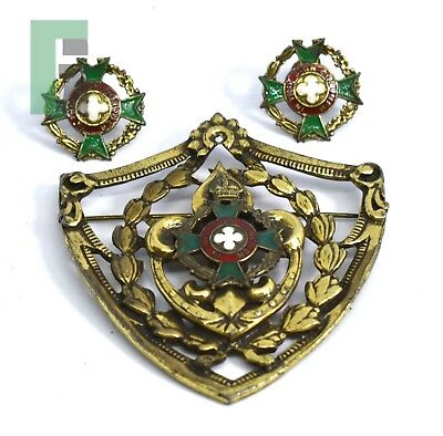 """Royal Army Chaplains Enameled Earning and Brooch Set """"In this Sign Conquer"""""""