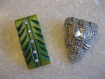 Lot of 2 Vintage Dress Clips / Deco Celluloid? & Silver Tone w/ Glass Stone
