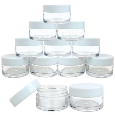 12 Pieces 20G/20ML Round Clear Cosmetic Cream Sample Jars White Lids BPA Free