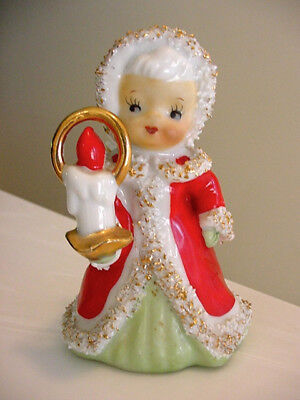 Vintage Lefton Japan Christmas Bell Girl Angel with Candle Spaghetti Gold Trim