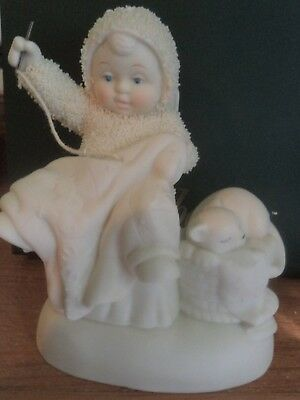 "Snowbunnies dept 56 ""GRANDMA'S LESSONS"" SEWING BABY & KITTEN IN THE BASKET"
