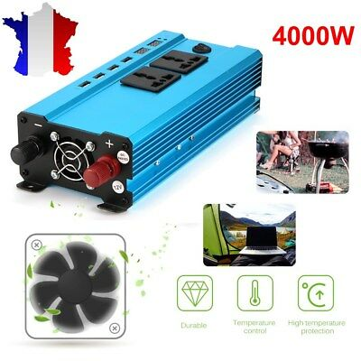 4000W Car Power Inverter 12V DC à 220 VAC Convertisseur USB chargeur pur sinus