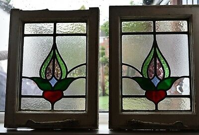 Stained Glass Windows Two Old Stained Glass Leaded Windows Matching Pair