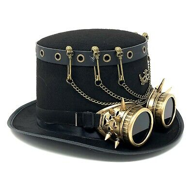 Steampunk Top Hat Mad Scientist Halloween Costume Cosplay Party With Goggles