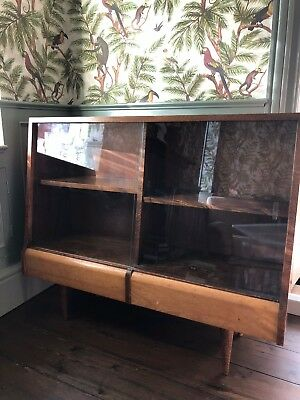 Mid century bookcase display cabinet with sliding glass doors