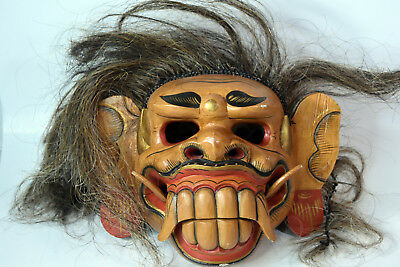 Vintage Real Size Indonesian Wooden Hand Carved Mask Scary Halloween Decor