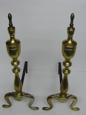 2 Vintage Solid Brass Federal Cabriolet Leg Fire Place Andirons