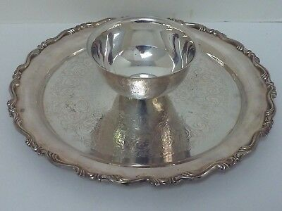 "Vintage 12 1/2"" Silver Plate Serving Tray w/ Center Bowl Appetizer Dip"