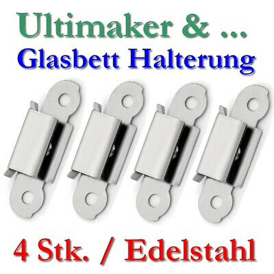 4x Glass bed plate Mounting Bracket Clip Clamp Steel UM2 UM3 GO Build Plate 3D