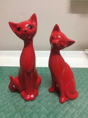 Vintage cat salt & pepper shakers , Red Kitsch 60s 70s Japan Napco Style