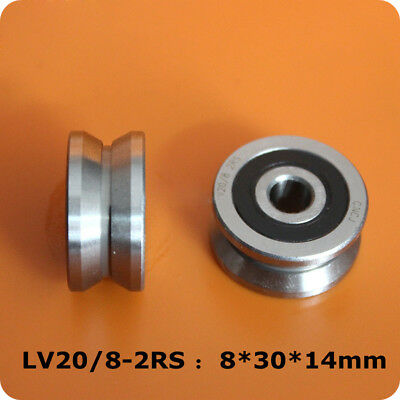 1pcs V Groove Double Row Roller Guide Bearings LV20/8-2RS Size 8*30*14mm