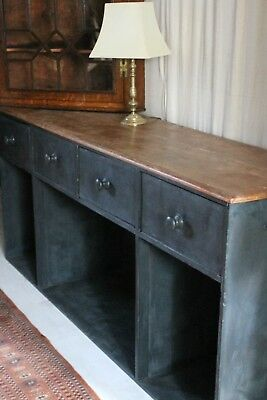 Dark Grey Blue Painted Pine Dresser Base Server Pine 4 Drawers 3 Pigeon Holes