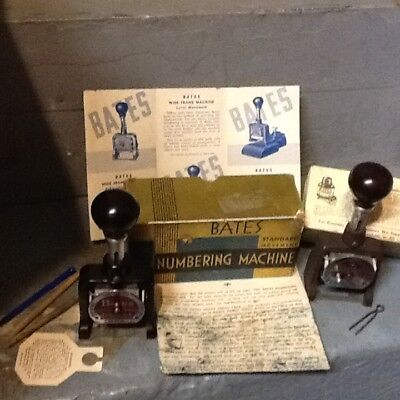 2 Bates Standard Movement Numbering machines(With box+Literature