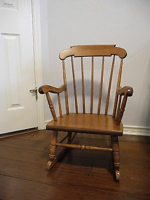 Vintage S. Bent & Bros Colonial Chairs Child Toddler Solid Wood Rocking Chair