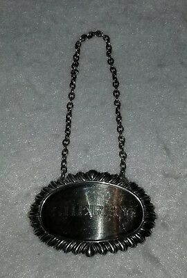 Sterling Silver Sherry Decanter Label