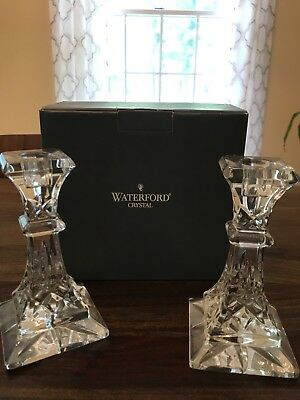 """Waterford Crystal Pair Of 6"""" Inch Lismore Candlesticks, lightly used with box"""