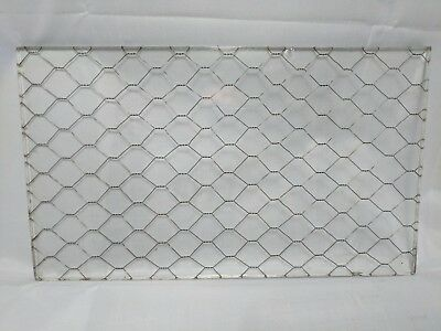 """Vintage 12"""" x 7"""" Chicken Wire Glass - Privacy Safety Security Old Industrial"""