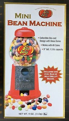 """JELLY BELLY MINI BEAN MACHINE 9"""" Working DIECAST CANDY DISPENSER with GLASS DOME"""