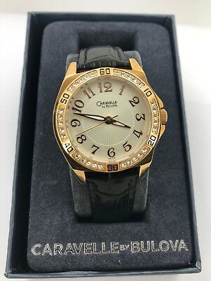 Caravelle by Bulova 44L104 Women's Analog Rose Gold Tone & Clear Stones Watch