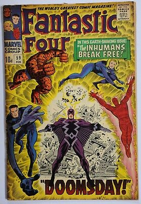 "Fantastic Four Vol 1 #59  Silver-Age Marvel Comic Feb 1967 ""doomsday"""