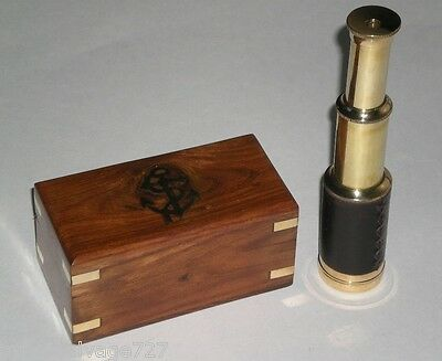 """Nautical 6 1/2"""" Brass Telescope in Decorative Wooden Box inlaid Anchor on Cover"""