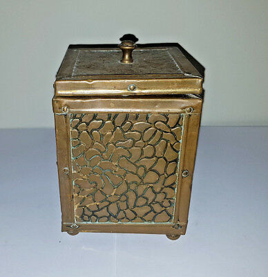 Antique hammered brass tea caddy cannister