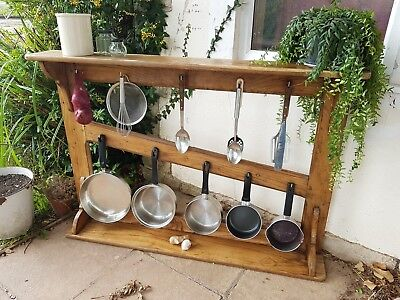 Antique French Country Elm Hanging Pot Rack Kitchen Rack Mounted Dresser Top