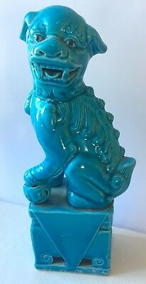 Turquoise glazed vintage foo dog lion