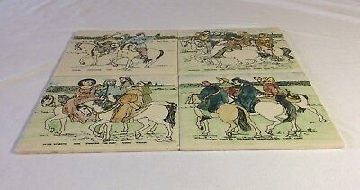 Four Vintage Hand-painted Canterbury Tales Tiles - H&R Johnson
