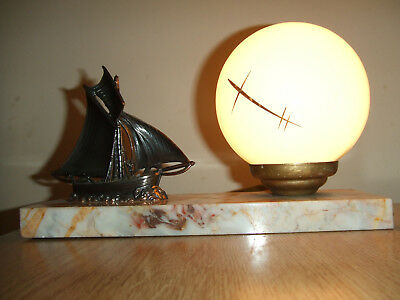 Art Deco Table Lamp With Marble Base And Original Shade