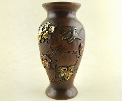 Antique Meiji Period Japanese Mixed Metal Carved Bronze Vase Excellent Carving