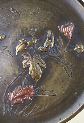 Antique Meiji Period Japanese Mixed Metal Carved Bronze Plate Excellent Carving